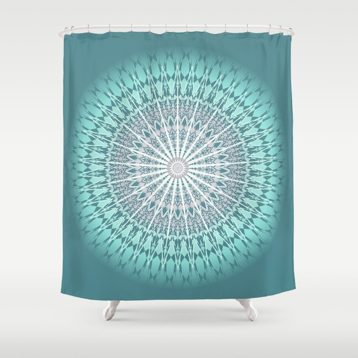 Teal Mandala Medallion Shower Curtain By Ninabaydur