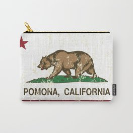Pomona California Republic Flag Distressed Carry-All Pouch