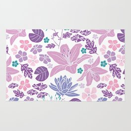 Purple and pink Japanese pond foral Rug