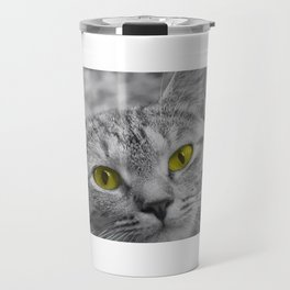 Cat with Piercing Yellow Eyes Travel Mug