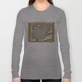 Vintage Map of Spain and Portugal (1747) Long Sleeve T-shirt