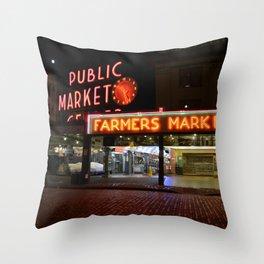 Pike Place Market Throw Pillow