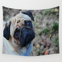pug Wall Tapestries featuring Pug by Crayle Vanest