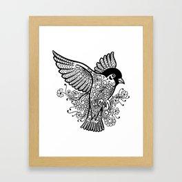 Black and White Bird Lover Design Pattern Mandala Framed Art Print