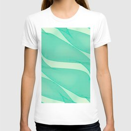 Abstract flowing ribbons in mint green T-shirt