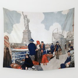 Vintage Immigrants & Statue of Liberty Illustration (1917) Wall Tapestry