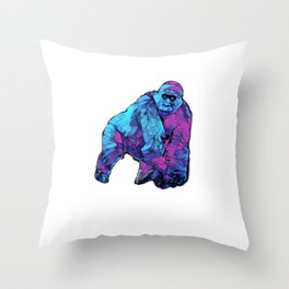 Colorful Lowland Gorilla Throw Pillow