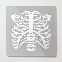 Human Rib Cage Pattern Gray 2 Metal Print