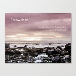 Fernweh - beach photo, seascape ocean photography, inspirational quote, travel landscape typography Canvas Print