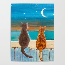 Cats on a Fence Poster