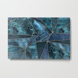 Stained Glass Style Gemstone Marble Blue Green Metal Print