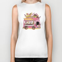 icecream Biker Tanks featuring IceCream Truck by ShangheeShin