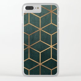 Dark Teal and Gold - Geometric Textured Gradient Cube Design Clear iPhone Case