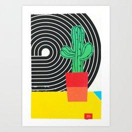 Colorblock Cactus Art Print