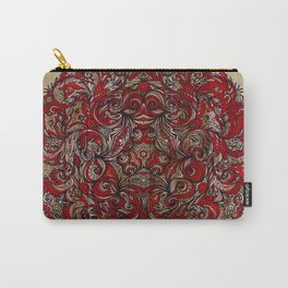 Red Indian Mandala on Wood Carry-All Pouch
