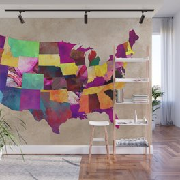 Us Map Mural.Us Map Wall Murals Society6