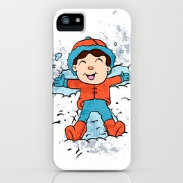 Children lying on snow as snow angels. iPhone Case