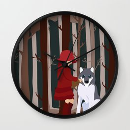 Little Red Riding Hood to make friends Wall Clock