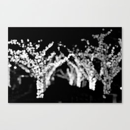 Twinkle Lights - Holiday Lights in Black and White Canvas Print