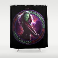 guardians of the galaxy Shower Curtains featuring Gamora - Guardians Of The Galaxy by Leamartes