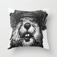 beaver Throw Pillows featuring Mr. Beaver by Mitzek