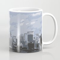 new york skyline Mugs featuring New York Skyline by Thee Xelerator