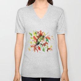 Hummingbird and Red Flowers, bird floral decor Unisex V-Neck