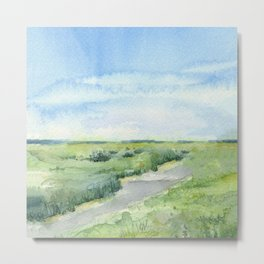 Sky and Grass Landscape Watercolor Metal Print