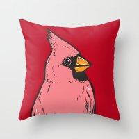 cardinal Throw Pillows featuring Cardinal by turddemon