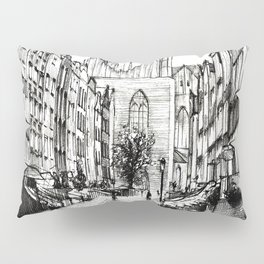 GOTHIC STREET OF POLISH CITY GDANSK IN GREY TONES Pillow Sham