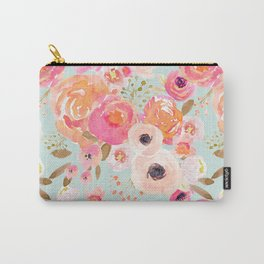 Indy Bloom Blush Blue Florals Carry-All Pouch