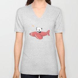 Kawaii Cute Panda Flying Unisex V-Neck