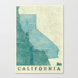 California State Map Blue Vintage Canvas Print