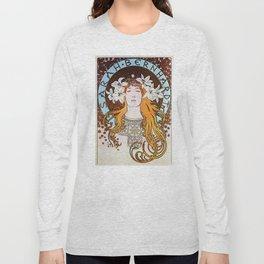 Alphonse Mucha Sarah Bernhardt Vintage Art Nouveau Long Sleeve T-shirt