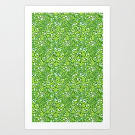 Funny green frogs entangled in a messy pattern Art Print