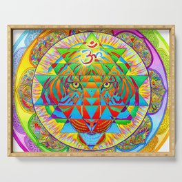 Inner Strength Psychedelic Tiger Sri Yantra Mandala Serving Tray