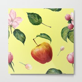 Watercolor pattern: Apple, apple blossom ang leaves Metal Print