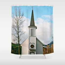 Country Church in the Mountians Shower Curtain