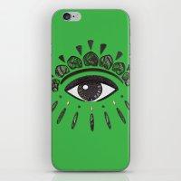 kenzo iPhone & iPod Skins featuring Kenzo eye green by cvrcak