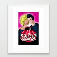 grease Framed Art Prints featuring Grease by The Fan Wars