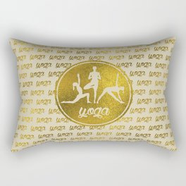 Golden Yoga Asanas Symbols  on  pastel beige Rectangular Pillow