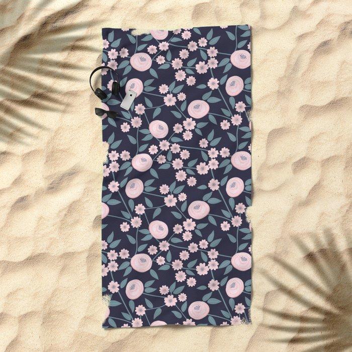 Little Flowers on Blue Beach Towel
