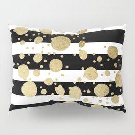 Faux Gold Paint Splatter on Black & White Stripes Pillow Sham