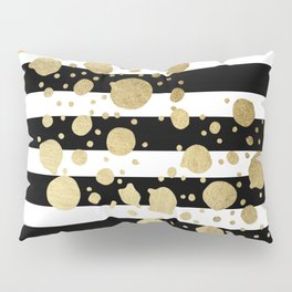 Faux Gold Paint Splatter on Black & White Stripes Pillow Sham