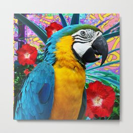 Tropical Blue Macaw Red Hibiscus Floral Art Metal Print