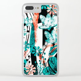 Teal turqoise flower Clear iPhone Case