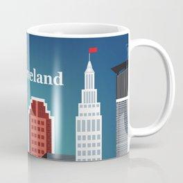 Cleveland, Ohio - Skyline Illustration by Loose Petals Coffee Mug