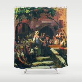 The Italian Tavern 1858 By Fyodor Bronnikov   Reproduction   Romanticism Painting Shower Curtain
