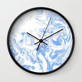 Suminagashi japanese spilled ink watercolor painting minimalist abstract marble marbling Wall Clock