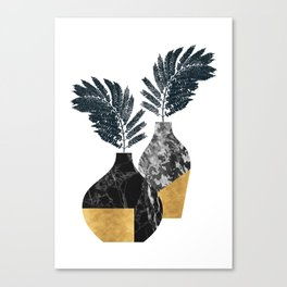 Gold + Marble Floral Vase Canvas Print